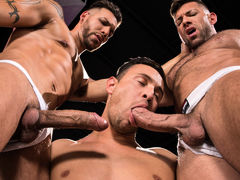 3 men stand in a black room, their white jockstraps barely containing their giant boners. FX Rios is tatted, pierced, and lean. Josh Conners is handsome, smooth, and muscled. Bruce Beckham is a unshaved bodybuilder with a macho attitude. After raw play wi mature gay fuck