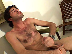 Hot hairy latino dude jerking his big hard cock off in here!
