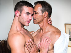 Killian James is Rodney Steele's assistant, he is reminding him about all the tasks that need to be completed. Rodney complains to Killian that he is close to a burn out, he immediately takes advantage of his hot boss's breakdown and massages his tense ne mature gay fuck