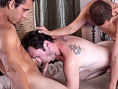 Gay Bareback Luke, Dorian & Quentin mature gay fuck