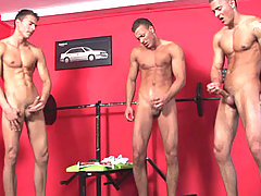 After a hard training the triplets need to wank off a bit!