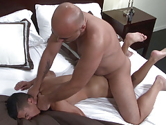 Big dicked Daddy Brian is ecstatic when he spies sexy sub boy Armond Rizzo in the bed. Armond has no trouble in wrapping his lips around Brian's fat cock and then happily stretches his cheeks so that Brian can pound his tough cock deep inside his ass. B mature gay fuck