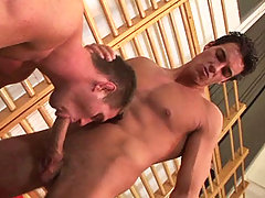 Handsome studs doing some anal pouding after wrestling match