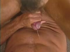 Dissolute dudes in sweaty threesome mature gay fuck
