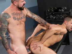 Appealing new inmate Kyle Kash just landed in jail, and stud Rocco Steele, who's been in a while, offers him the 'you take care of me, I'll take care of you' policy. When this guy sees the size of Rocco's cock, Kyle realizes he's found the perfect prison