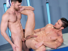 Two hot, strong stallions stand toe-to-toe and cock-to-cock. The striking Ryan Rose and irresistible Jacob Peterson fondle every other with intense passion. It's not long previous to scruffy Jacob gets to his knees and gives Ryan a spit-dripping blowjob, mature gay fuck