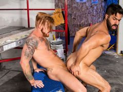 Hairy, ripped Adam Ramzi and buff ginger Bennett Anthony are on their lunch break, but the meat they want is between their legs! Bennett feeds his rock massive cock to Adam's willing mouth. Adam teases the tip with his tongue, then slides all the way down mature gay fuck