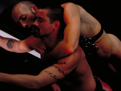 Justin Southhall works over Scott Samson in a down-n-nasty S&M scenario worthy of de Sade himself. Scott, in bondage among two pillars, moans like a good pliant submissive as he is spanked, whipped, spit-on and erotically tortured in any number of cre mature gay fuck