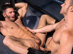 Muscled, hairy stud Brian Bonds has a big, girthy boner that requires sucking. Brogan Reed is up to the challenge and welcomes a vigorous face fucking. Thick spit appears as Brogan deepthroats Brian's shaft and sucks his hefty balls. To return the favor, mature gay fuck