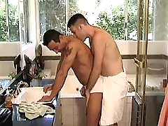 Three careless guys sexing outside