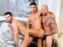 The Santoro's have acceded to bring in a number 3 for the evening and they do a text book 3 way. Sean is hyped to be the lucky man sucking, licking and fucking with dual lovers. The Santoro's love to share with the right person and this hot encounte mature gay fuck
