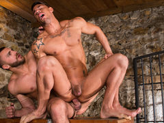 Big, beefy Emir Boscatto brings Sergyo Caruso down to the basement for some bawdy action. The basement looks get joy a medieval dungeon, with stone walls and a metal gate, and Emir is the taskmaster of this dungeon. Sergyo falls to his knees and services mature gay fuck