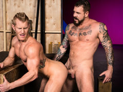 Tattooed muscle boy Rocco Steele locks lips with ginger-blond hunk Johnny V. Johnny touches Rocco's massive cock, then sinks to his knees to perform oral worship. Few chaps could manage Rocco's heavy girth and length, but Johnny shows off just how good h mature gay fuck
