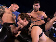 Puppy handler Lance Hart leads Mickey Mackenzie around on a black leather leash. With a tail plugging his hole and a mask over his face, Mickey surrenders his humanity and dives headlong into his submissive pup mind. As Mickey sniffs around the room, this mature gay fuck