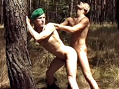 Hot army studs enjoying some intense anal sex outdoors