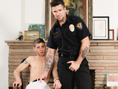 Sam is in trouble with the law and this time Officer Ducati is going to make him pay his dues. Sam has been busted caning off in the storage room again and his assistant has ratted him out to cover his own ass. Officer Ducati grills him with questions til mature gay fuck